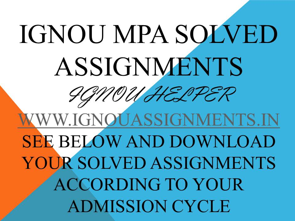 IGNOU MPA SOLVED ASSIGNMENT