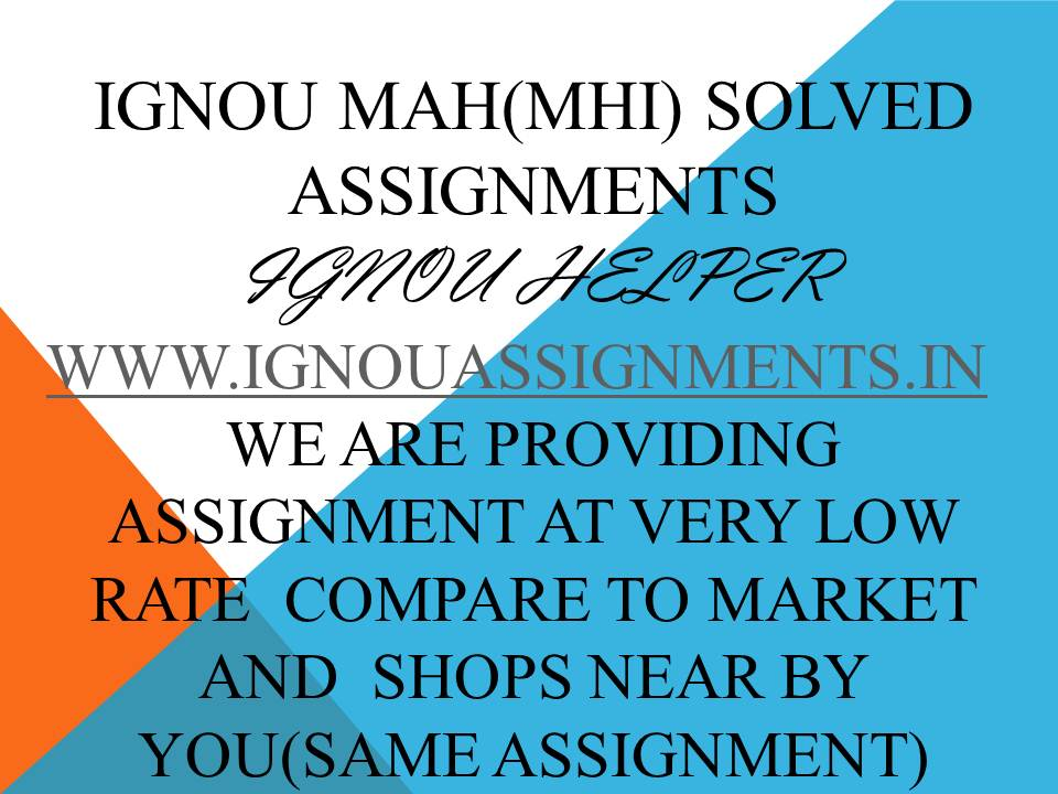 IGNOU MAH 1SOLVED ASSIGNMENT